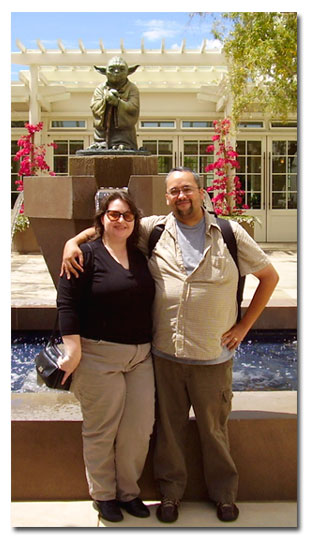 Us in front of the Yoda statue at the Letterman Digital Arts Center (San Francisco - July 30, 2006)